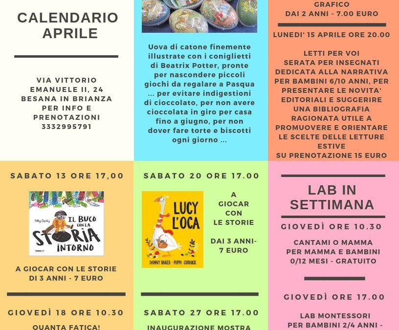 CALENDARIO EVENTI E LABORATORI APRILE 2019