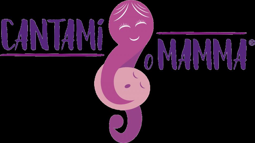 Disegno rosa e viola stilizzato di mamma con bambino in braccio