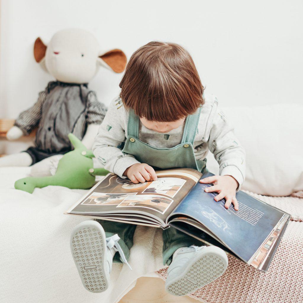 Bambino che legge albo illustrato
